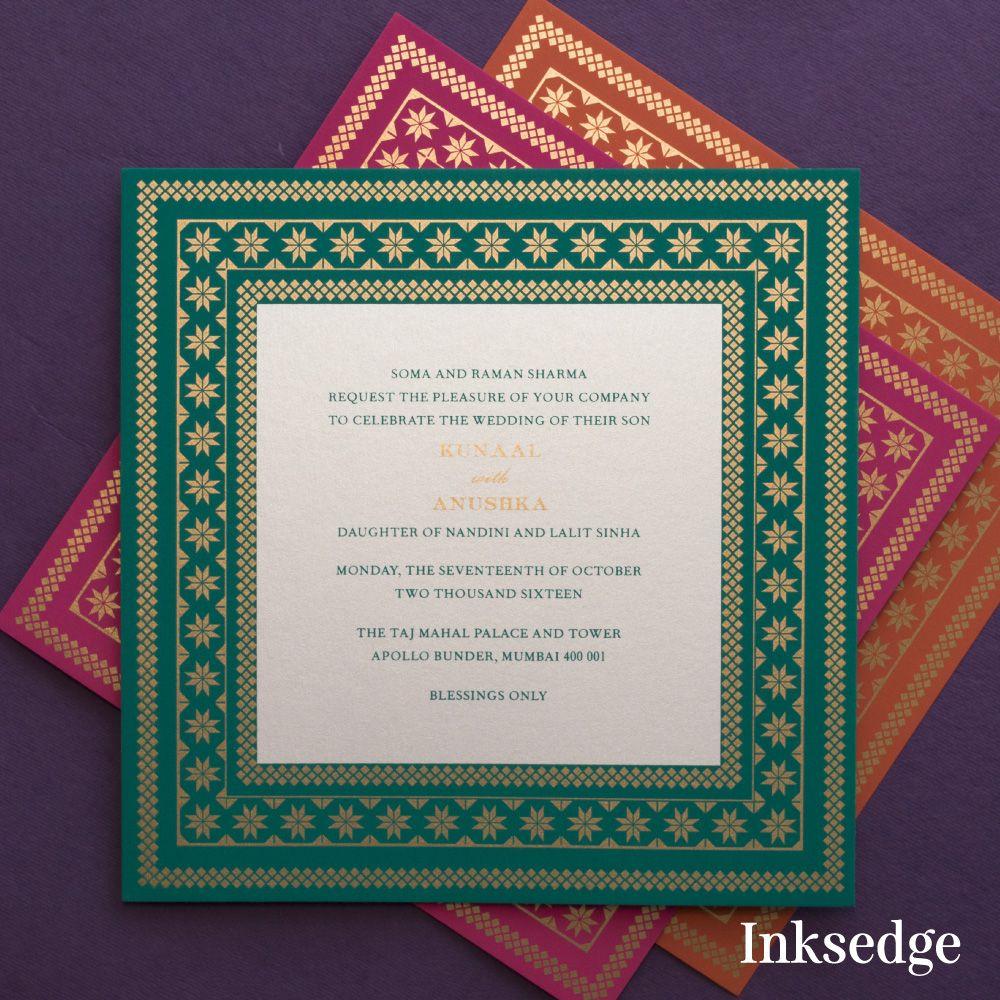 Sacred Impressions Saffron Wedding Invitation Cards Bring The True Indian Indian Wedding Invitation Cards Wedding Card Wordings Wedding Invitation Card Design