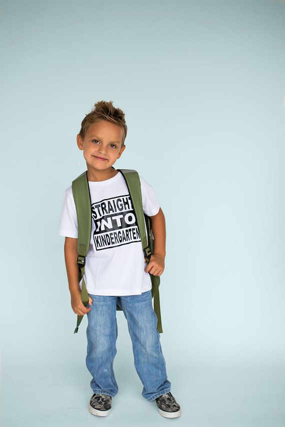Toddler   Youth Boy or Girl Straight Into Kindergarten T-Shirt - First Day  of School Top -Many Color f90bc399a