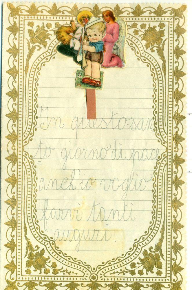 Cartoline Di Natale Anni 30.Dettagli Su Letterina Di Natale Anni 30 Bordo In Rilevo Con