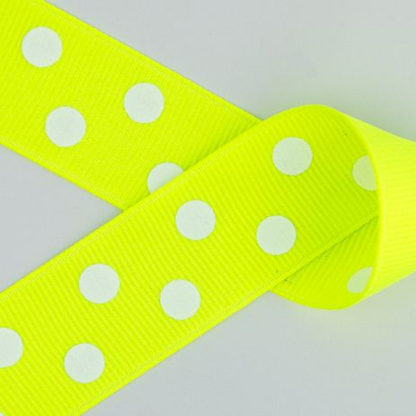 Neon Lime Green with White Polka Dots Grosgrain Ribbon ~ 2 1/4in, 1 1/2in, 7/8in https://squareup.com/market/princess-bubbles-boutique/hair-bow-white-polka-dots-grosgrain-ribbon