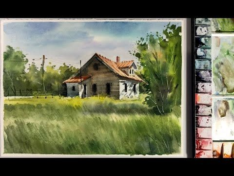 35 Watercolor Landscape Painting Little House In The Meadow