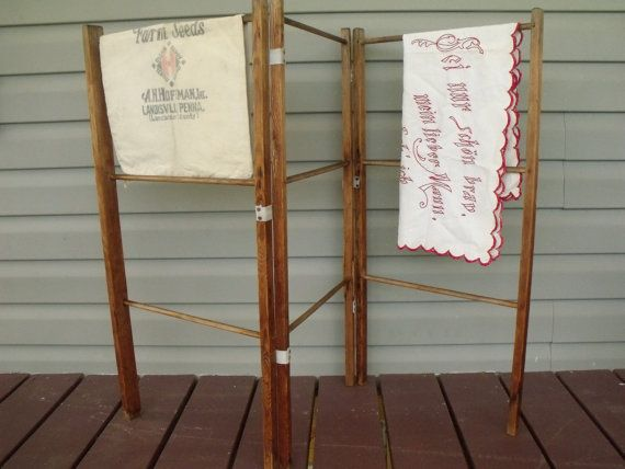 Primitive Winter Hedge Airer Clothes Drying Wood By