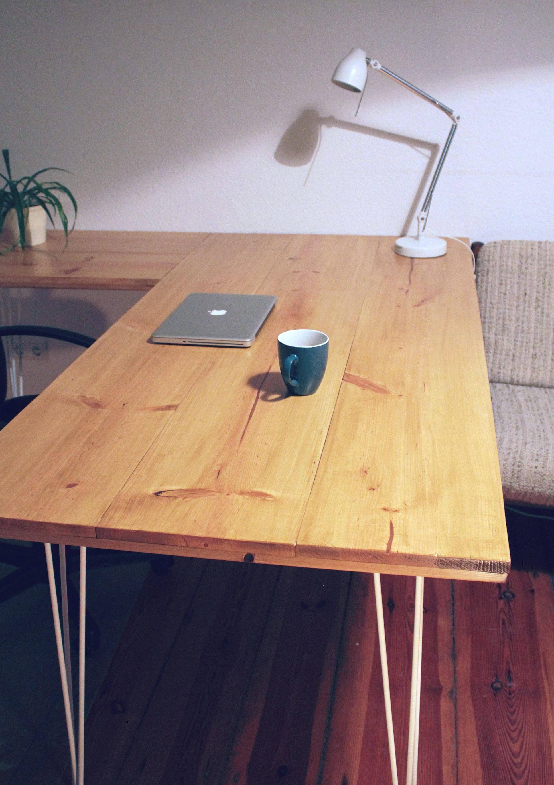 DIY Writing Desk With Hairpin Legs. Made Of Massive Pine Wood. The Side Part