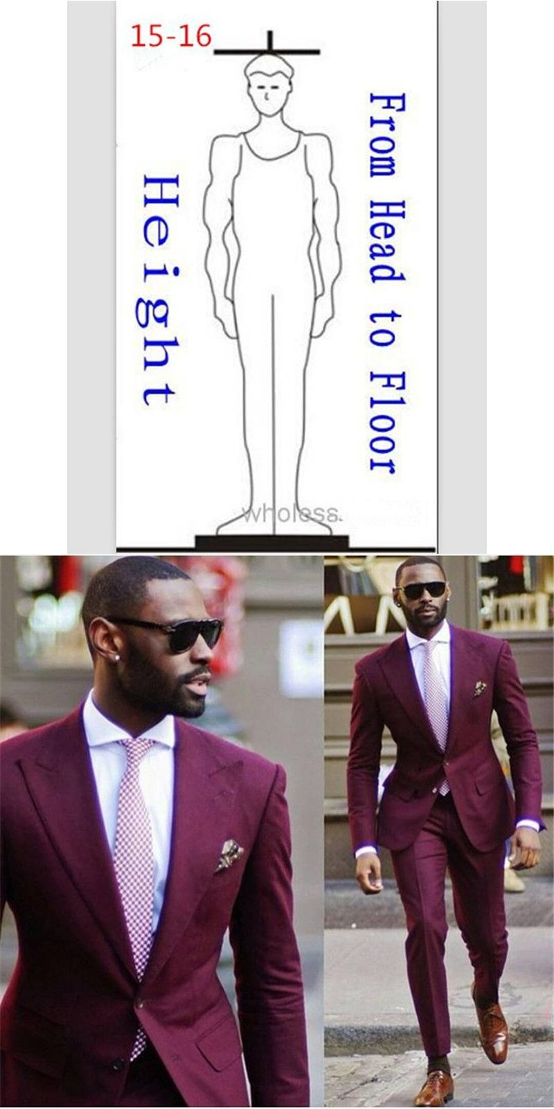 New Design Wedding Men Suits terno masculino burgundy Mens Suit ...
