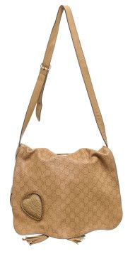 62c3b0c65 Gucci Tan Leather Monogram Tassel Flap Messenger Handbag   g u c c i ...