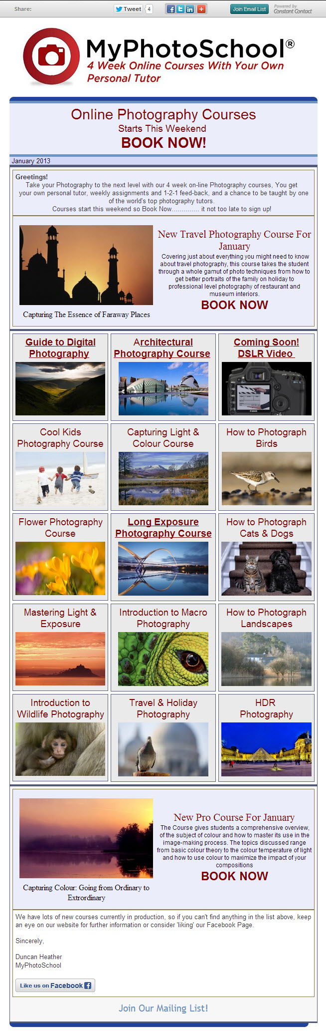 4 week Online photography Classes start this Saturday 5th