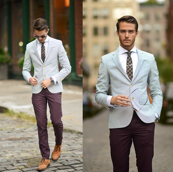 Similar Here > Blazer, Ted Baker Tie, Topman Plum Trousers, Similar With  Monk Strap > Oxfords, Tie Bar - NYFW 3 - Adam Gallagher