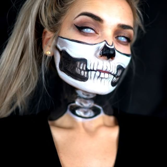 half skull exposed neck halloween makeup tutorial check out the full tutorial on. Black Bedroom Furniture Sets. Home Design Ideas