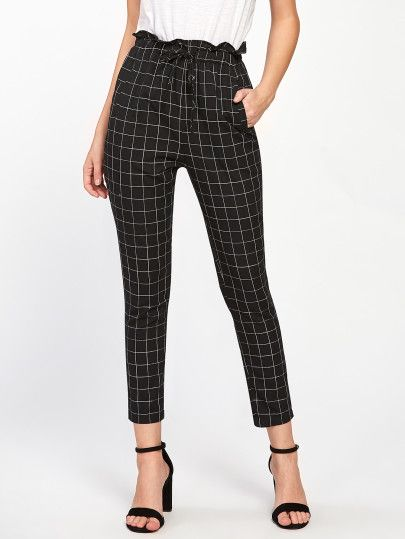 28b4e1e8ee2 Shop Frilled Waist Grid Pants online. SheIn offers Frilled Waist Grid Pants    more to fit your fashionable needs.