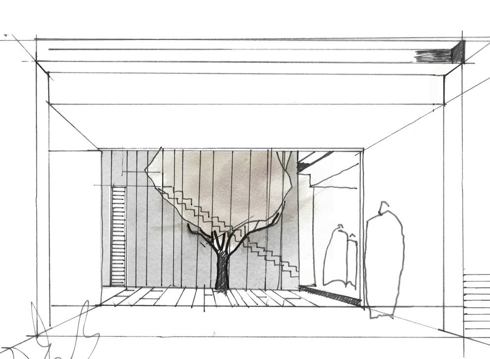 Courtyard house by architects eat arch drawing for Architecture house design sketch