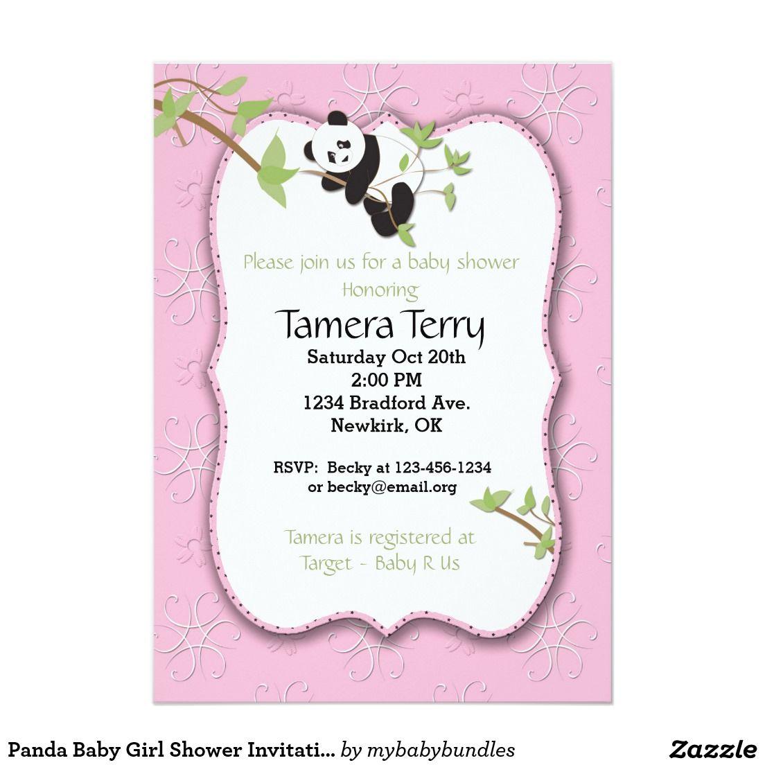 Panda Baby Girl Shower Invitation   babyshower panda   Pinterest ...