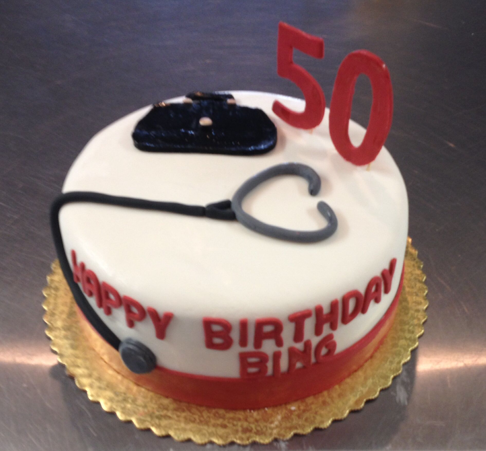 50th birthday cake customized for a doctor Cake Art Pinterest