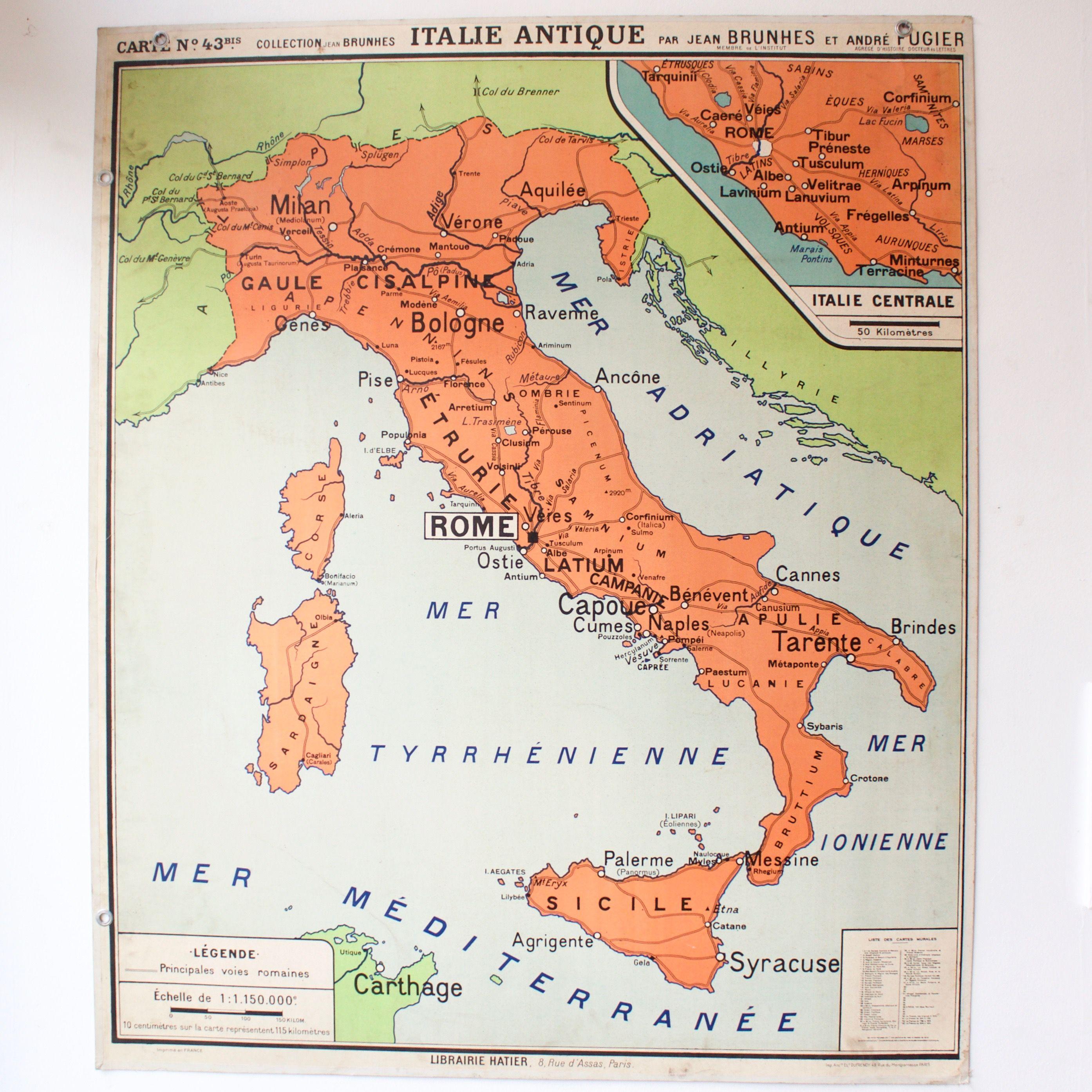 Carte Italie Ancienne.Carte Scolaire Ancienne N43 Italie Antique French Vintage