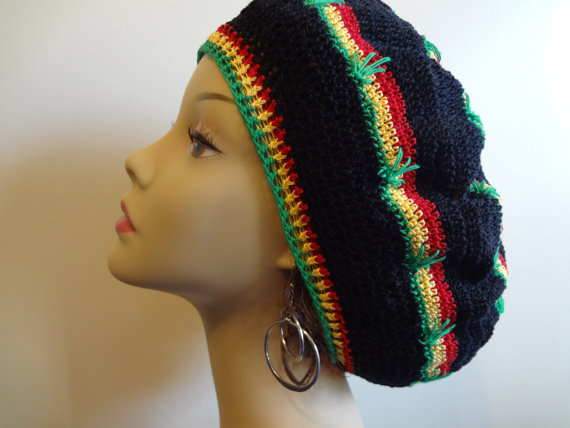 Cotton Thread - Rasta Hat - Dread Hat - Slouchy Hat - Pot Leaf Hat ...