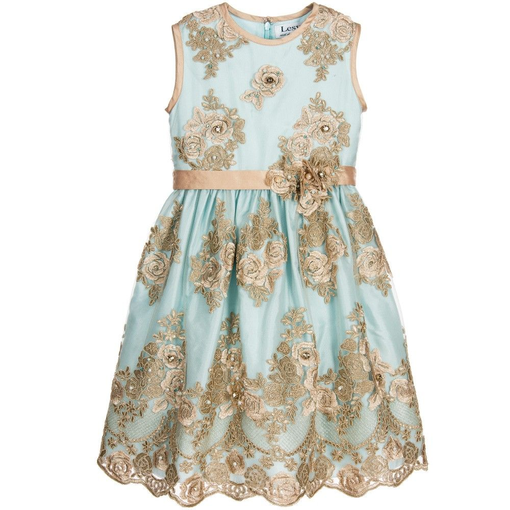4e2304df8 Turquoise blue tulle and gold sequin dress by Lesy Luxury. This ...