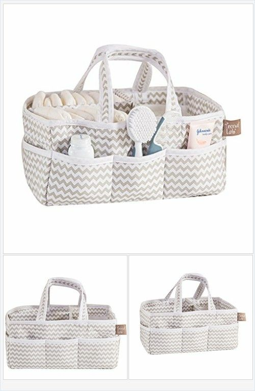 Dove Gray Chevron Baby Storage Nursery Caddy Diaper Organizer Pet Supplies Crafts Every