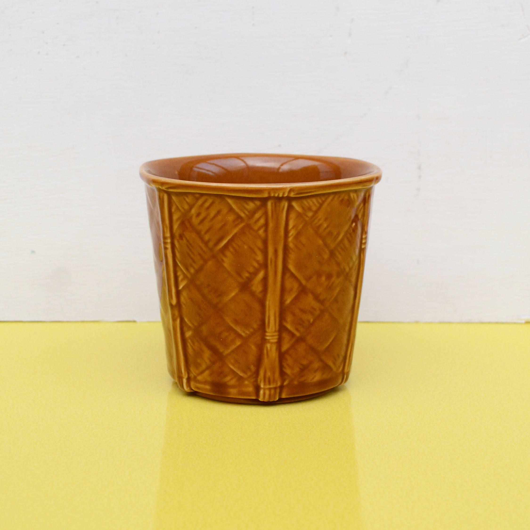 Vintage Ceramic Planter Churchill Pottery Brown Ceramic Plant Pot Indoor Planter Small Basket Weave St Ceramic Plant Pots Stoneware Planter Ceramic Planters