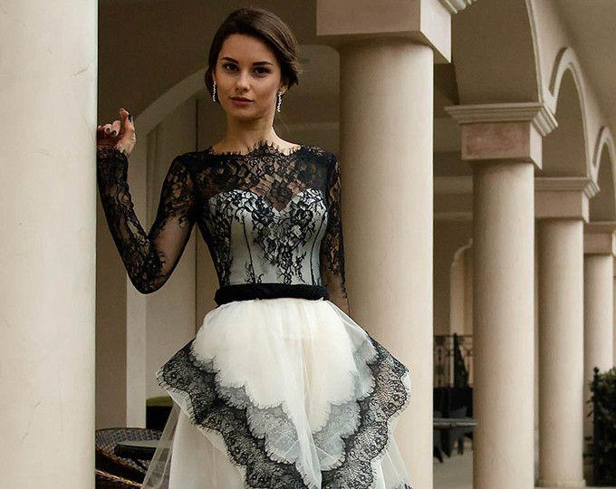 Schwarz / weiß Hochzeitskleid, kurze Brautkleid mit Spitze, Hochzeit ...