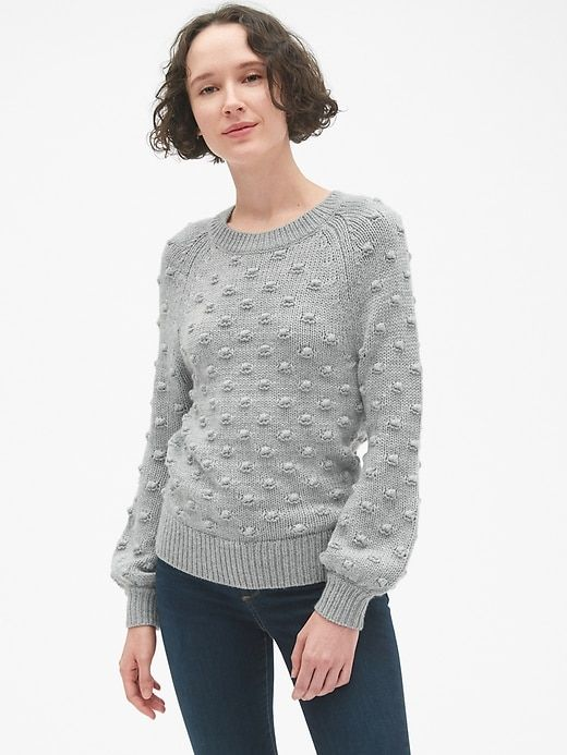 e477bf1516 Gap Womens Bobble Stitch Pullover Crewneck Sweater Heather Grey