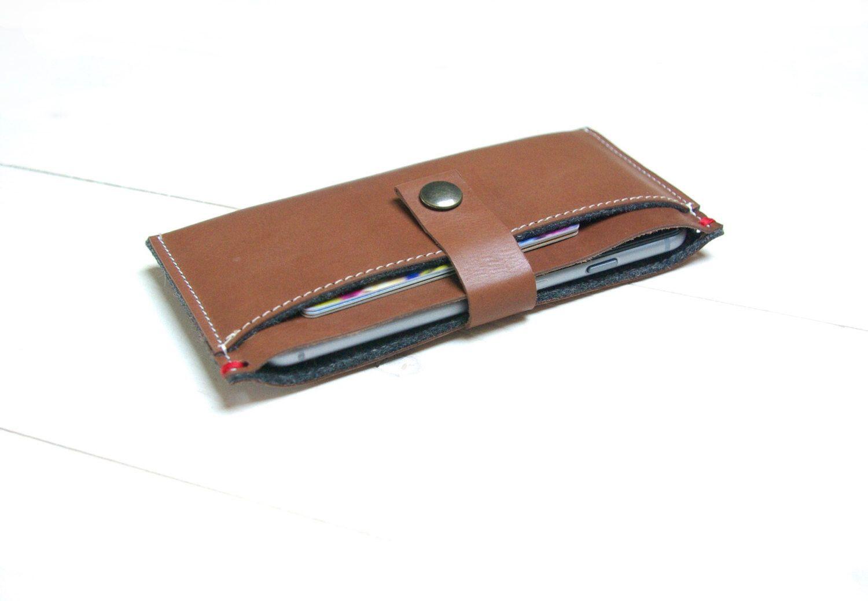 Slim iphone xs xr wallet leather case cognac buffalo