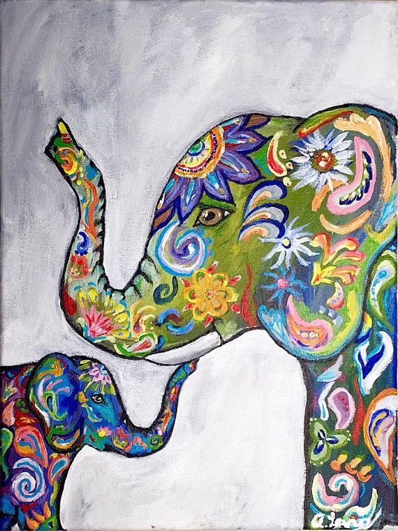 Colorful Elephant ORIGINAL Canvas Painting 12x16 Acrylic ...
