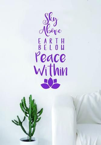Sky above earth below peace within wall decal sticker room art vinyl beautiful cute hamsa namaste
