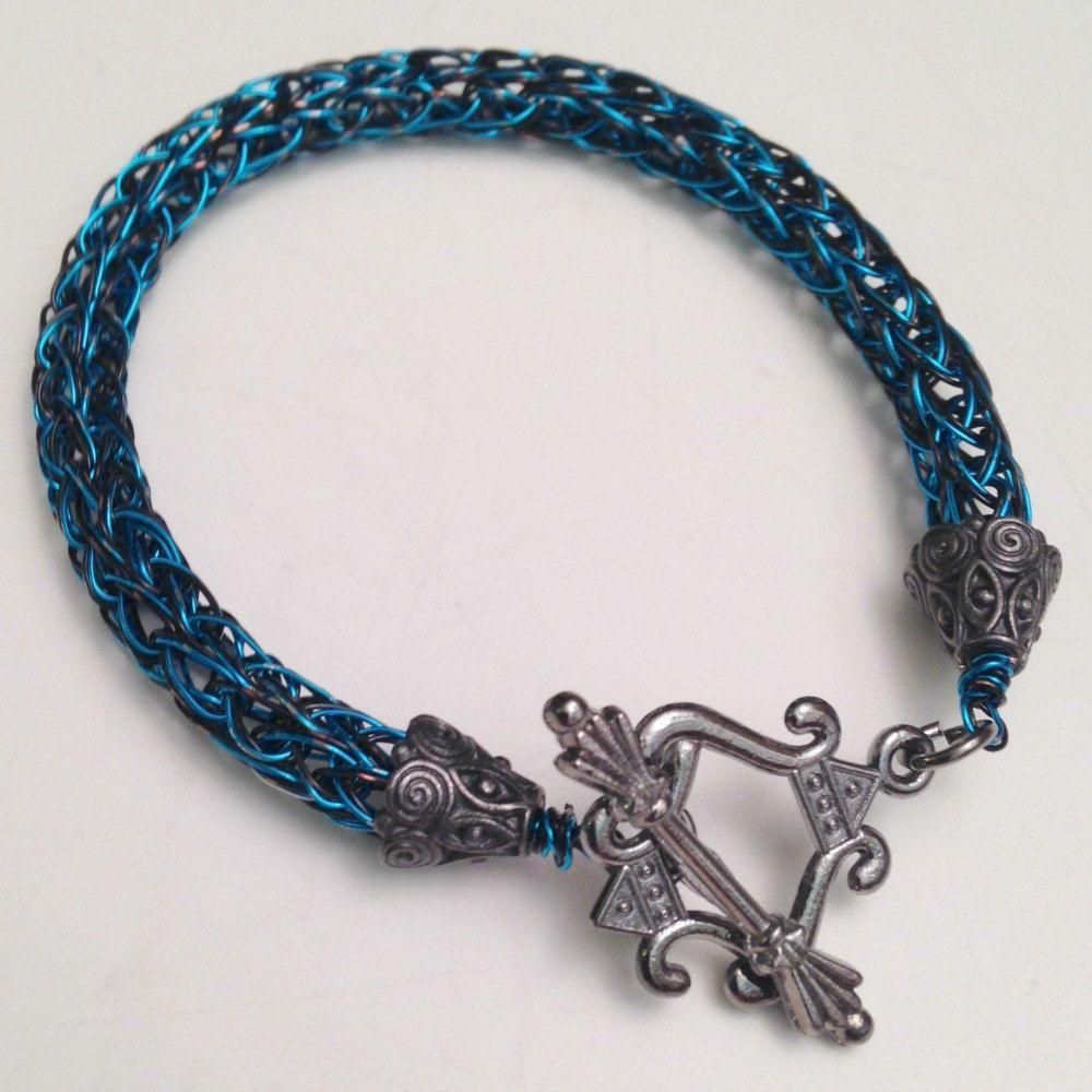 Black and blue unisex viking knit bracelet by DonnaDStore on Etsy ...