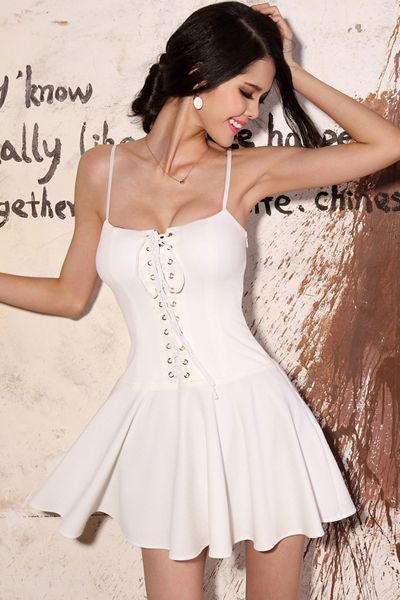 e8d185936 Sexy White Spaghetti Strap Lace Up Mini Dress in 2019 ...