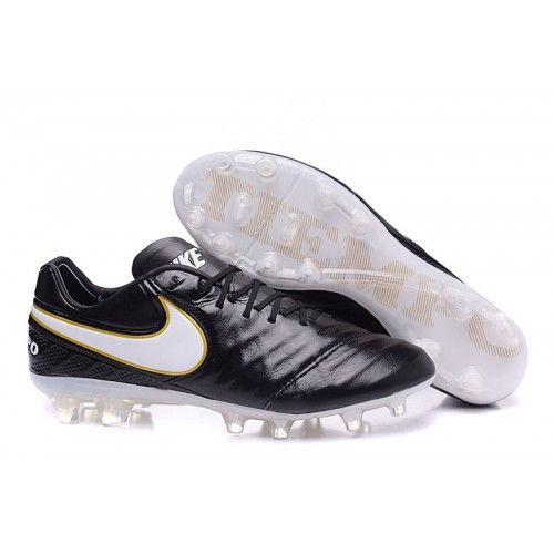 Nouveau 2016 Nike Tiempo Legend VI FG Chaussures de football Noir Blanc  Leather