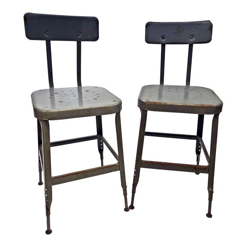 Cool Vintage Industrial Metal Drafting Stools By Lyon A Pair Machost Co Dining Chair Design Ideas Machostcouk