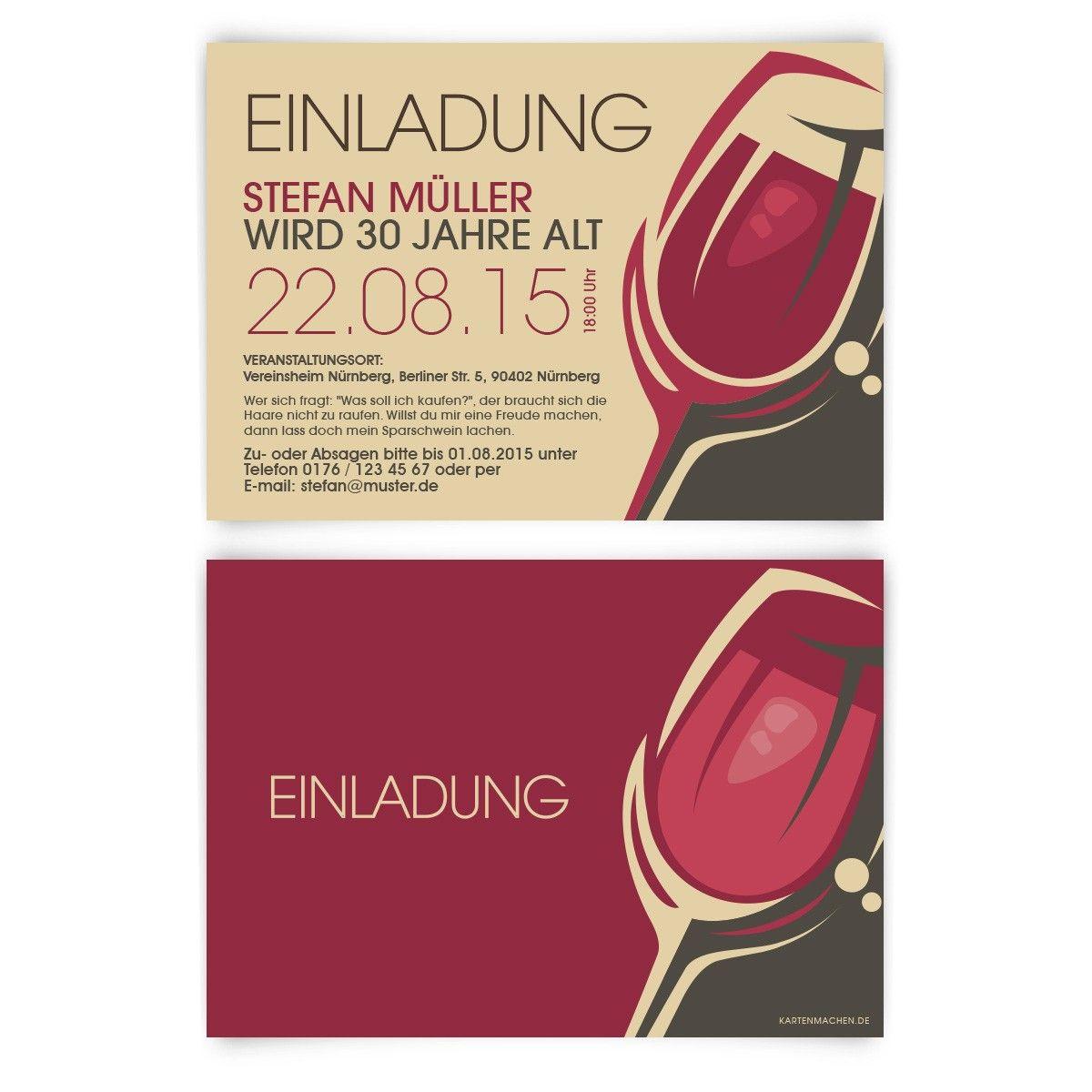 einladungskarten - rotwein | einladungen, einladungskarten