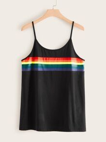 Plus Rainbow Stripe Cami Top 11.00 USD #stripedcamitops Plus Rainbow Stripe Cami Top 11.00 USD #stripedcamitops