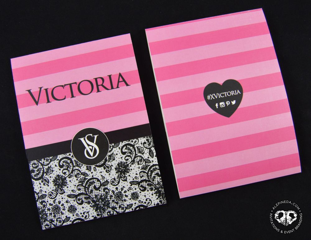 Lovely Quinceañera invitation, Victoria's Secret. Black and Pink. Love  VE75