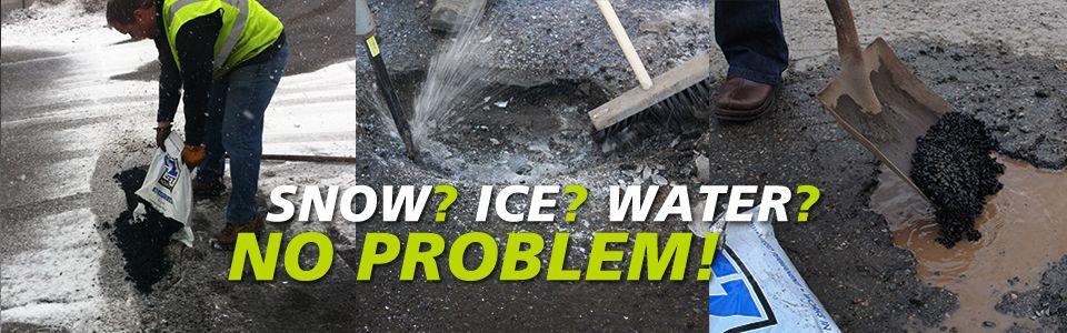 Snow Ice Water No Problem Ez Street Pothole Repair Works In Water And All Weather Asphalt Repair Driveway Repair Repair