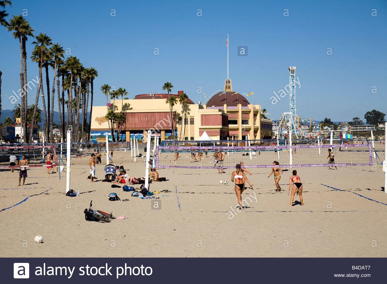 Stock Photo The Beach Volleyball Courts At The Main Beach Near The Santa Cruz Beach Boardwalk Ar Beach Volleyball Court Santa Cruz Santa Cruz Beach Boardwalk