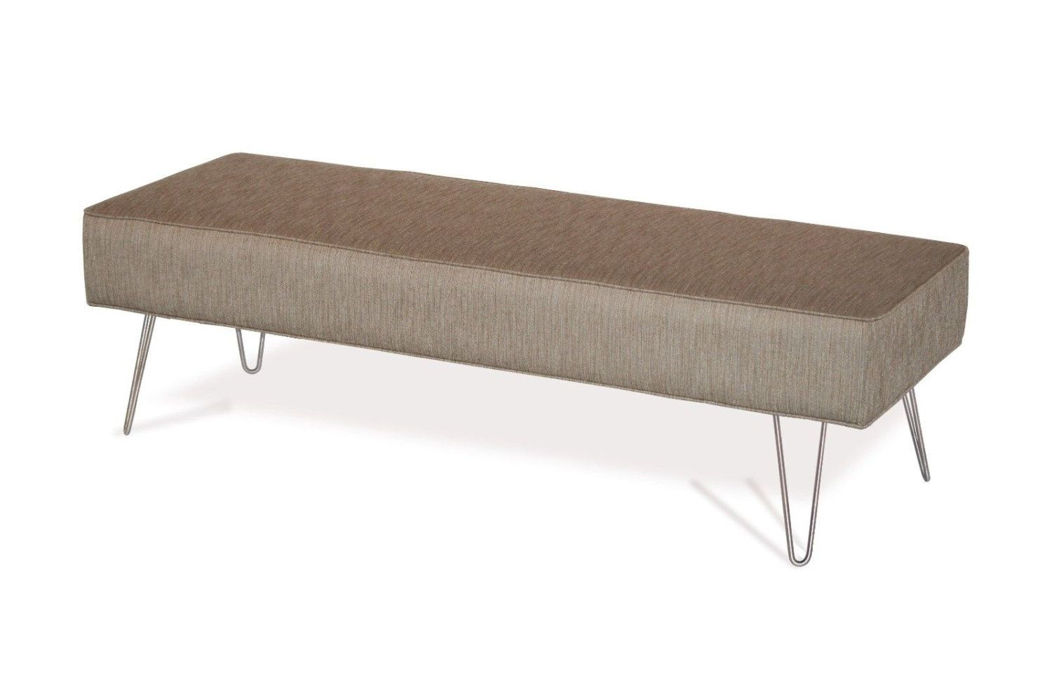 Mid Century Modern Fabric Upholstered Bench Ottoman Coffee Table ...