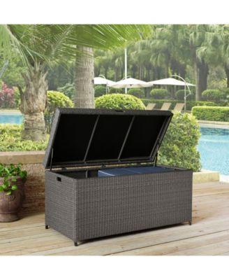 Palm Harbor Outdoor Wicker Storage Bin Silver Outdoor Wicker Wicker Storage Bins Outdoor Deck Furniture