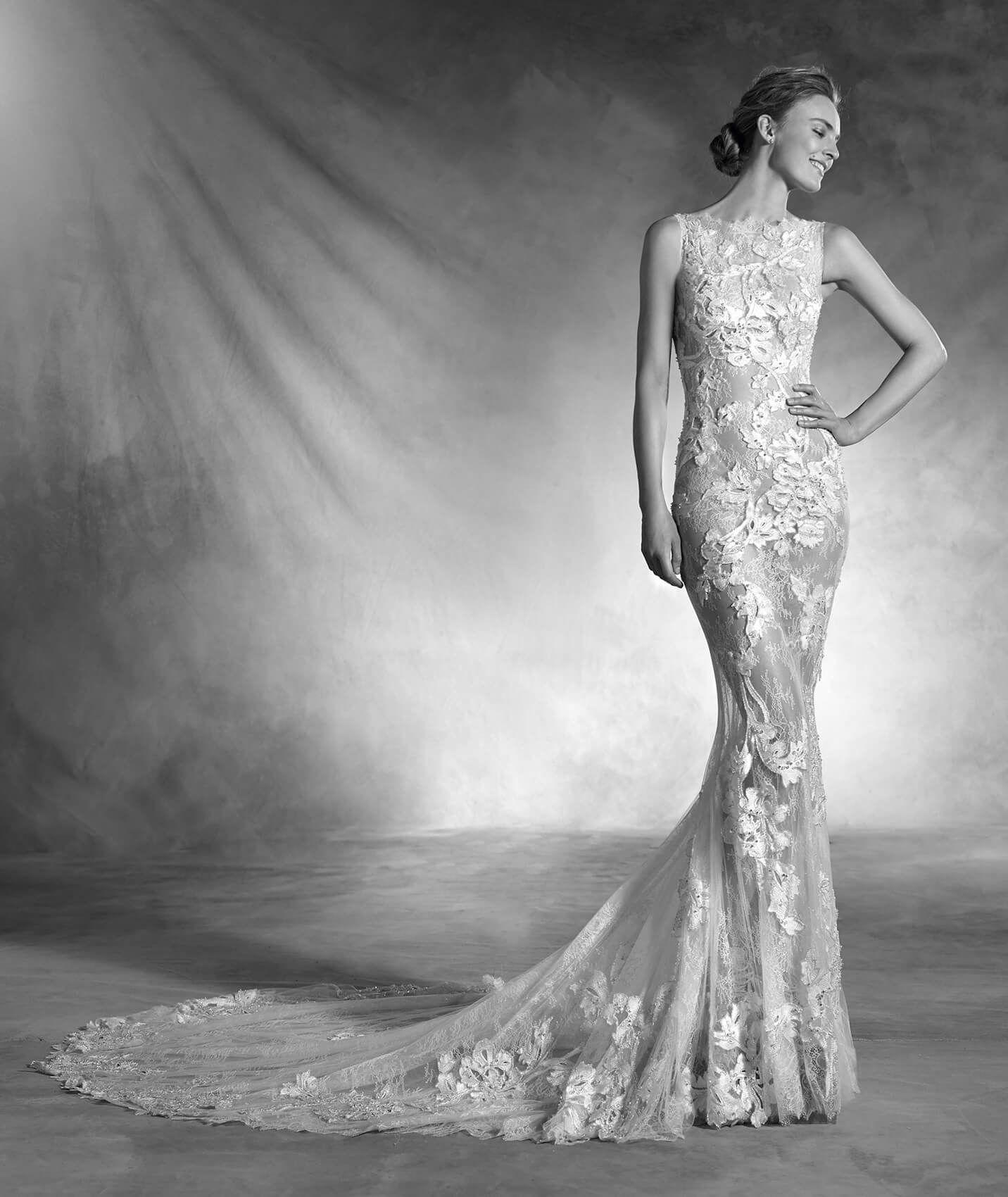 NESTA - Brautkleid aus Tüll und Spitze mit U-Boot-Ausschnitt und ...
