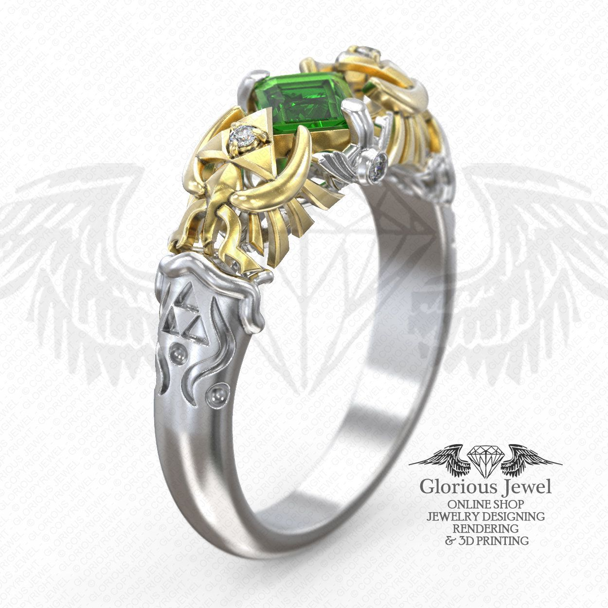 Glorious Custom Made Hyrule Warriors Triforce Legend Of Zelda Nintendo Inspired Game Ring Available In Gold 14k By Gloriousjewelsc On Etsy: Spiritual Stones Zelda Wedding Rings At Websimilar.org