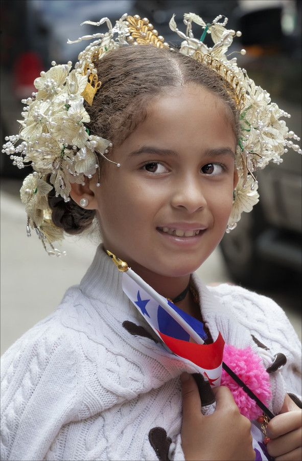500px / Hispanic Day Parade NYC 2013 Girl With Flowers in Hair by Robert Ullmann