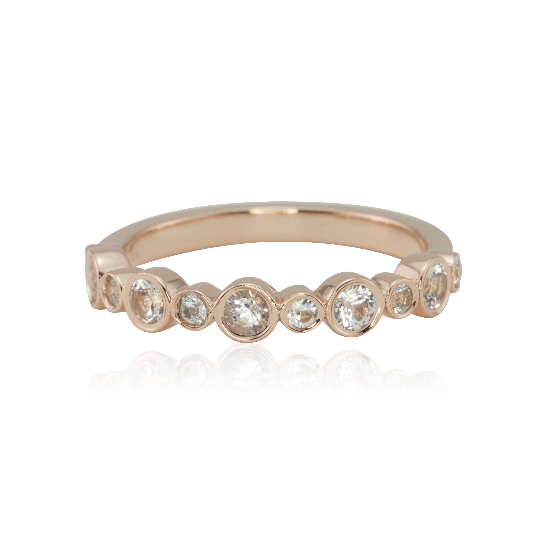 14k Rose Gold Bezel Set White Sapphire Half Eternity Band LS3483