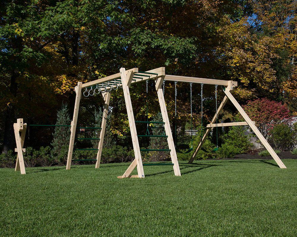 White Cedar monkey bars and swing set with turning bar ...