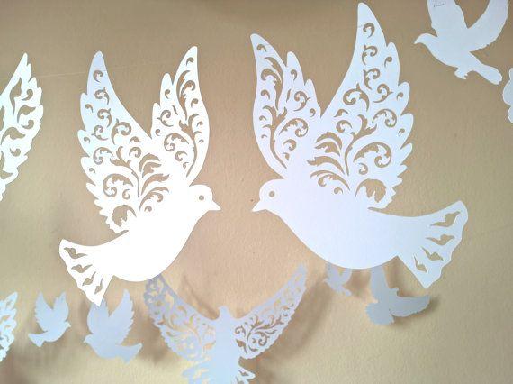 corte las palomas paloma de papel decoracin de por rubiacraft