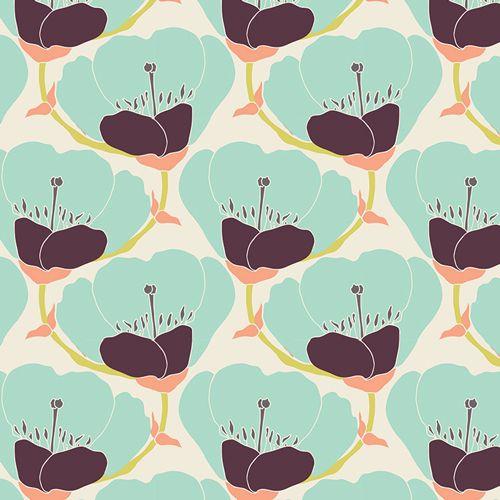 Tela de amapolas color aguamarina - Tienda de Telas y Lanas Prints