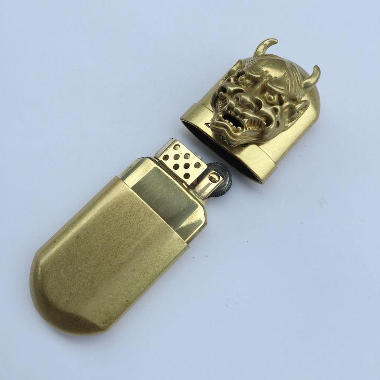 Brass Cigarette Lighter Handmade 3D Prajna Horns Retro Kerosene Oil Lighter #B
