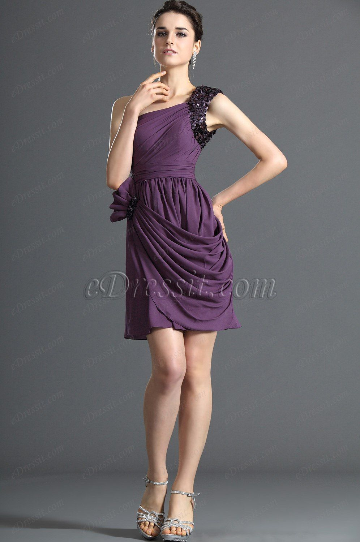 eDressit Gorgeous One Shoulder Purple Party Dress | All girlie stuff ...
