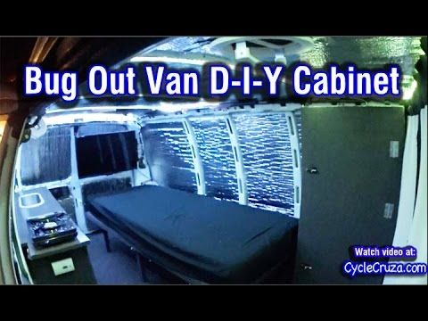 Bug Out Van Cabinet Build Diy Chevy Cargo Van Build Youtube Custom Built Cabinets Chevy Express Campervan
