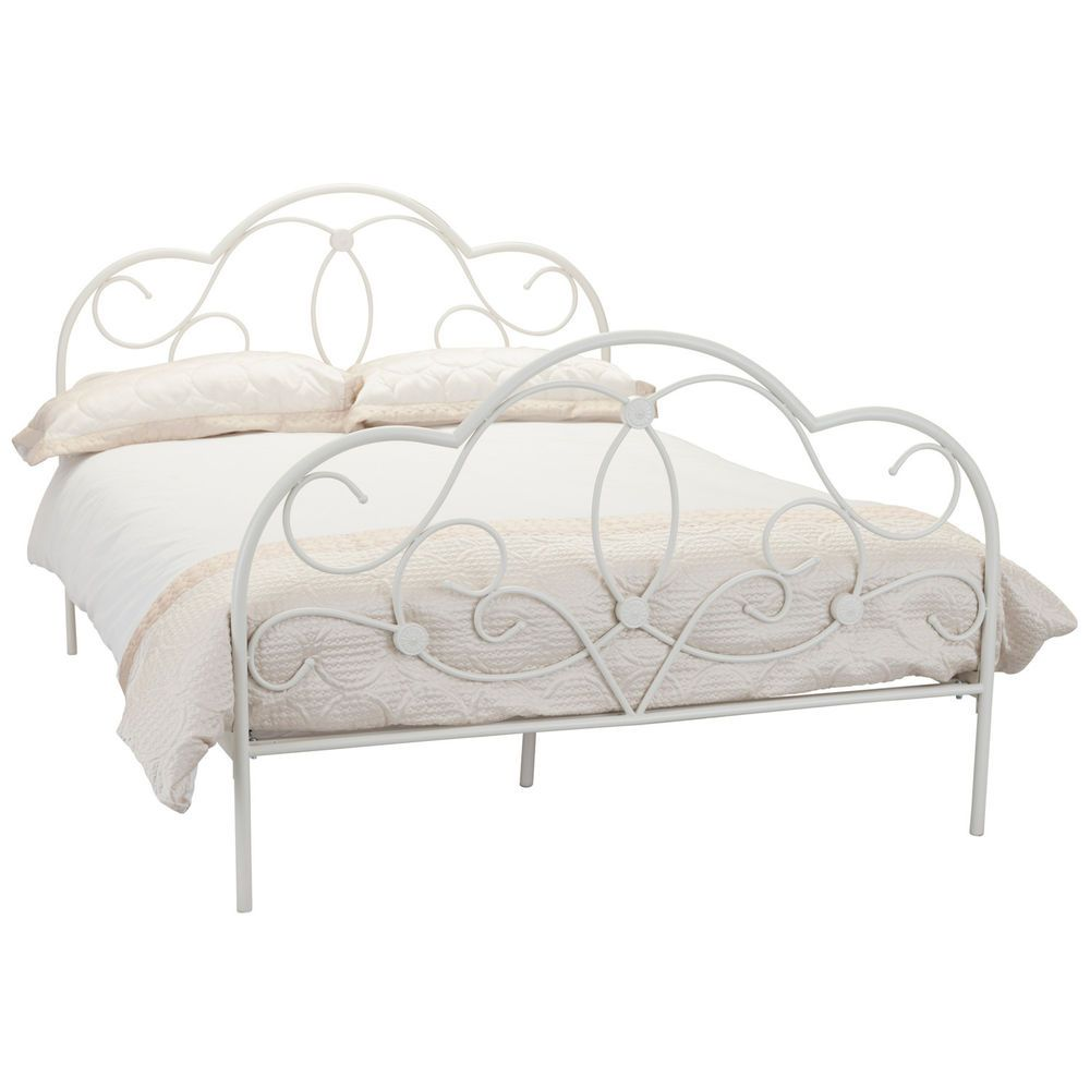 Arabella Bed Frame - Ornate Wrought Iron Bedstead - Cream | My New ...