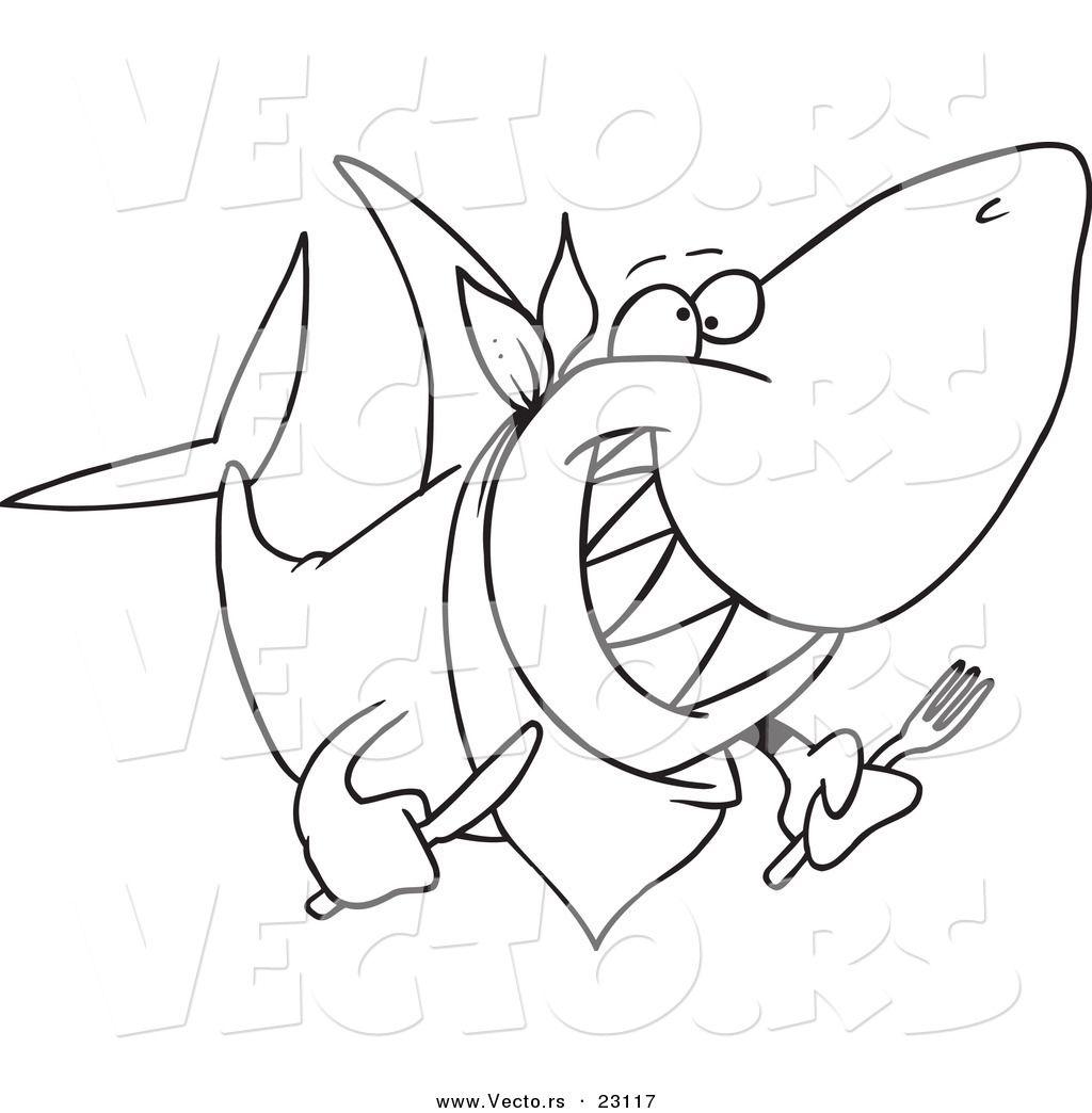 Vector Of A Cartoon Hungry Shark