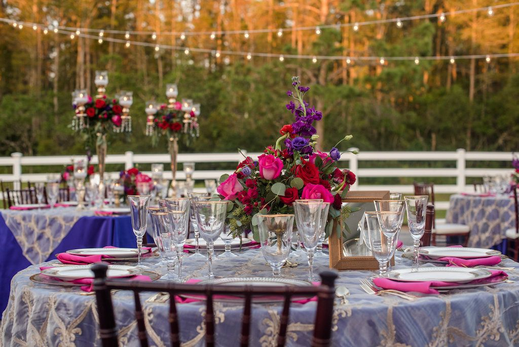 Vibrant Purple And Pink Outdoor Styled Wedding Rustic Country